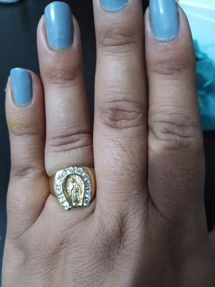 Anillo De Oro Amarillo 14 K Virgen Guadalupe 11 Diamantes