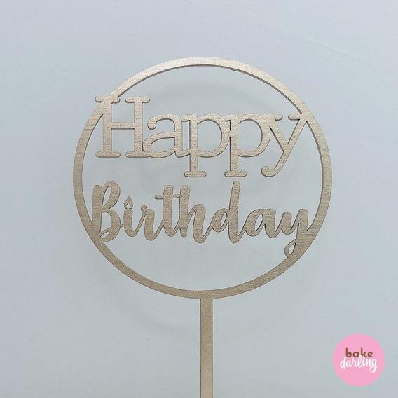 Letrero Happy Birthday Redondo Gold Bdlg-007