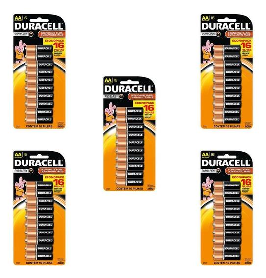 Kit 5 Cartelas Pilhas Alcalina Aa Duracell - Total 80 Pilhas