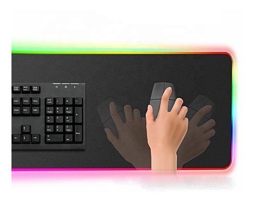Imagen 1 de 10 de Mousepad Gamer Rgb Led Alfombrilla Mouse Tapete Usb 800x300