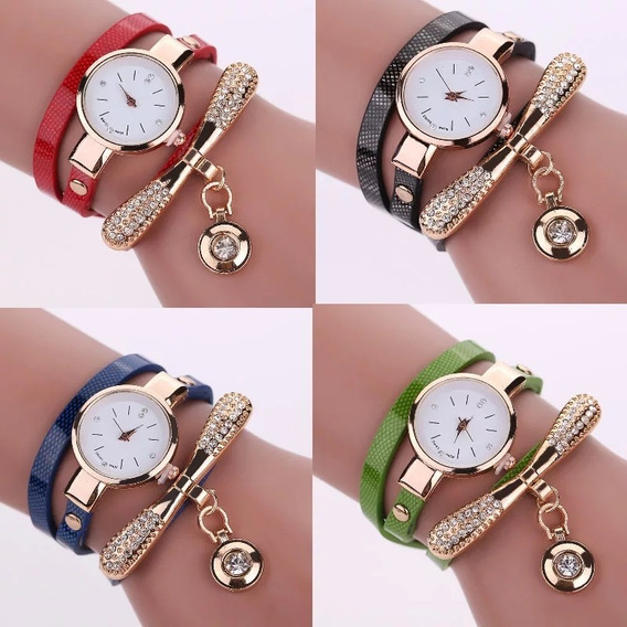 Relógio Feminino Bracelete C/strass Vermelho- Frete Grátis