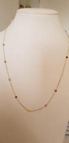 Corrente Gargantilha Ouro 18k Pedras Zirconio Coloridos 3mm