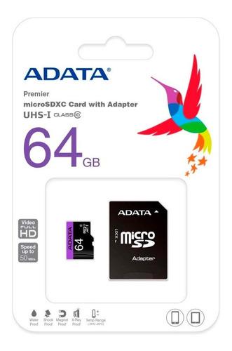 Imagen 1 de 2 de Tarjeta Micro Sd Adata 64gb Clase 10 Ausdx64guicl10-ra1