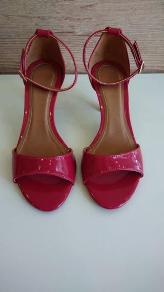 Sandália Vermelha Verniz Tira Única