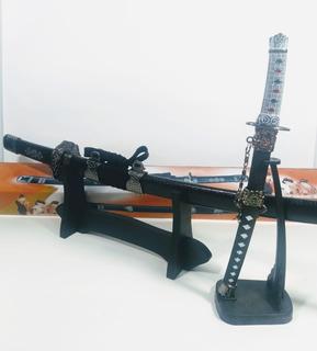 Kit 2 Espada Katana Samurai Sabre Enfeite Decoraçao Suporte