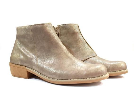 Botas Zapatos Mujer Bajas Cómodas Color Oro