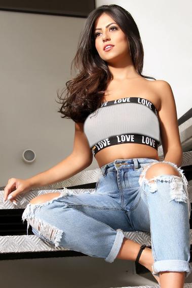 Cropped Top Faixa Love Tomara Que Caia Sem Bojo Luxo