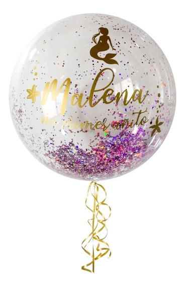 Centro De Mesa Burbuja Personalizado Glitter Brillos Helio