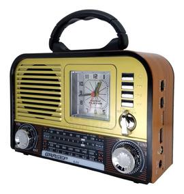 Radio Relogio Retro Som Vintage Am Fm Sw Som Bluetooth Usb