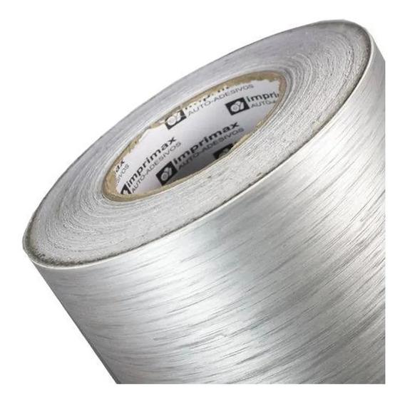 Vinil Adesivo Aço Escovado Prata Inox - 2mx60cm