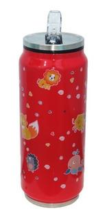 Garrafa Squeeze Inox C/ Canudo 360ml Coruja Lata Academia