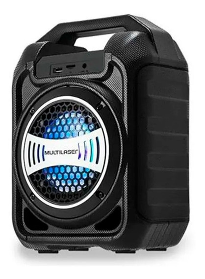 Caixa Som Bluetooth Usb Aux Micro Sd Fm + Microfone Preta
