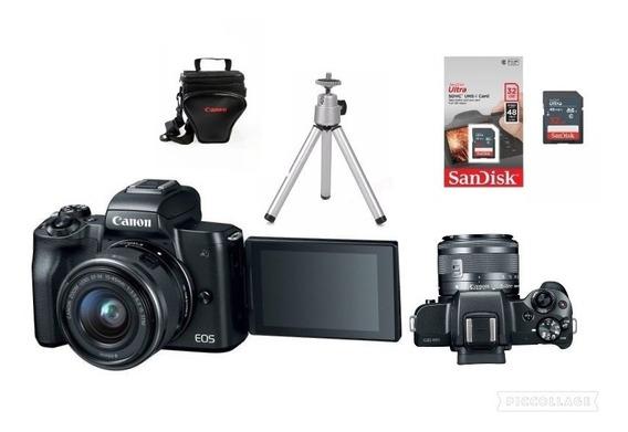 Canon Eos M50 Tef-m15-45mm Ls.m+bolsa+tripe,32gb C10