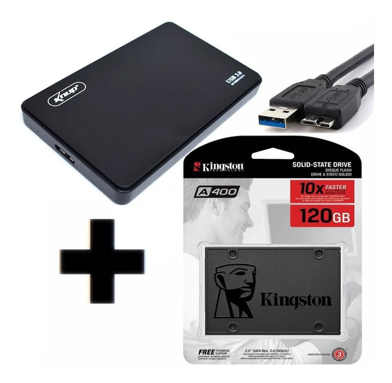 Ssd Kingston 120gb A400 Sata 6gb/s + Case Usb 3.0