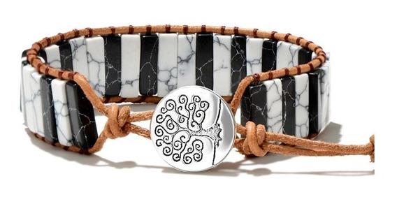 Pulsera Piedra Natural Howlita Con Agata Bohemio Ying Yang