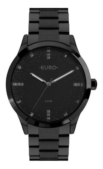 Relógio Feminino Euro Glitter Fever Eu2036yol/4p 40mm Preto