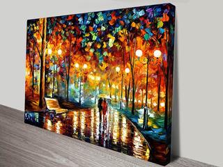Cuadro L. Afremov Lluvia Pareja Abstracto En Canvas Artístico Con Licencia De Reproducción Del Artista 80x110cm