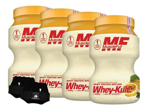 Kit 4x Whey Kult 900g Maracujá Muscle Full + Luva