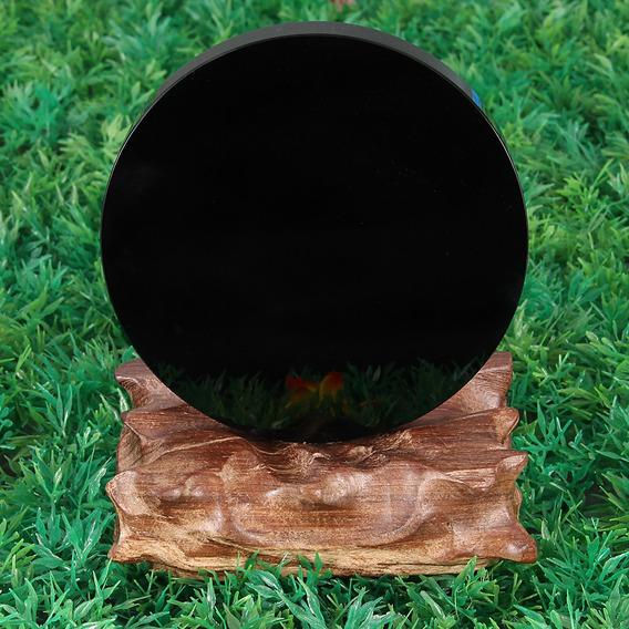 100 Mm Preto Obsidiana Espelho Cristal Pedra Cura Pedra Pedr