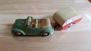 1:90 Schuco Piccolo Set Vw Fusca Kafer Cabrio + Trailer 722