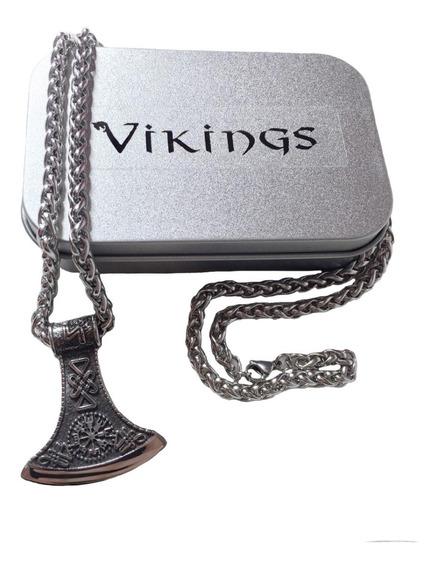 Cordão Colar Vikings Nórdico Eixo De Batalha Rollo Ragnar
