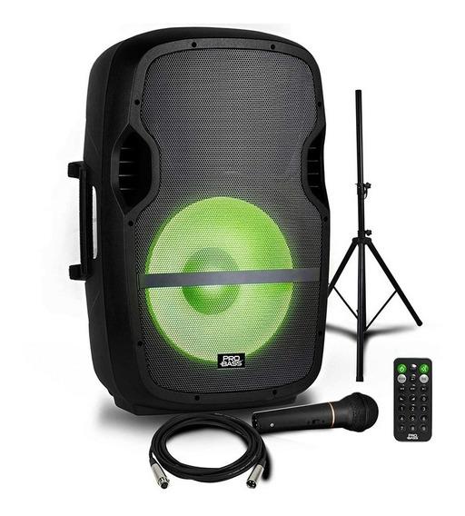 Caixa De Som Amplificada 15 Pol Probass C/ Microfone Tripé