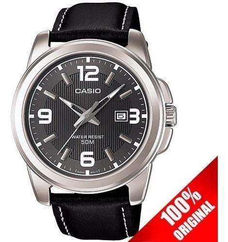 Reloj Casio Caballero Mtp1314 Negro - Piel - Fechador