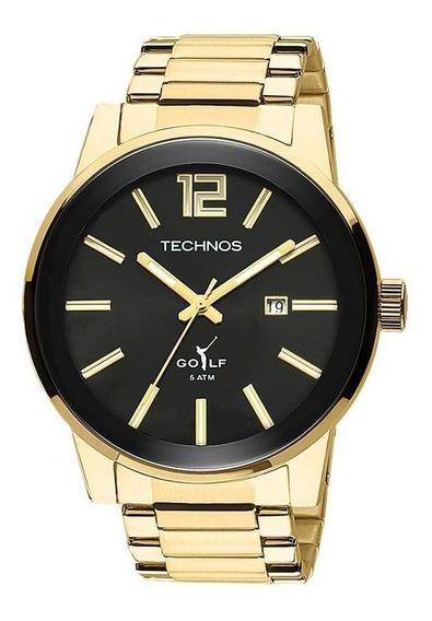 Relógio Technos Masculino Golf Dourado/preto 2115tt/4p + Nf