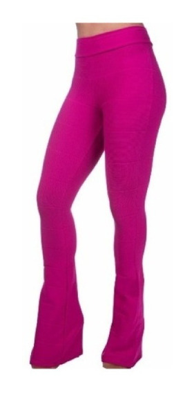 Calça Bandagem Flare Cintura Alta Rosa Boca Larga Juju