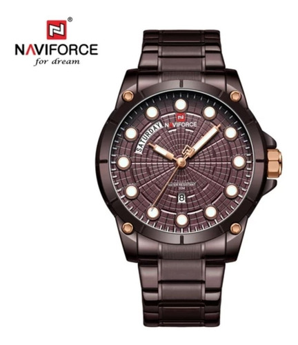 Relogio Pulso Luxo Masculino Naviforce 9152m Aço