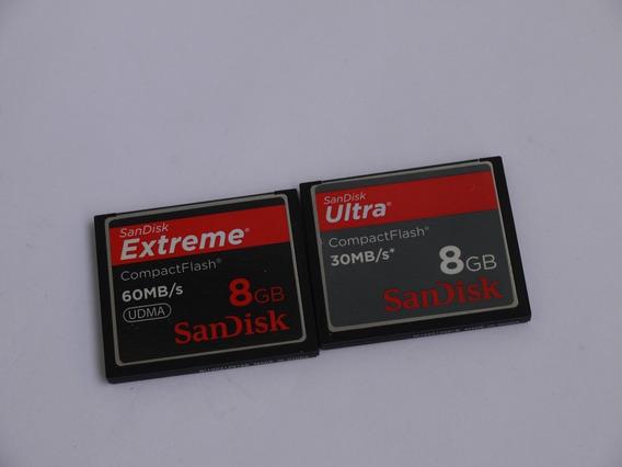 2 Unidades Cartão De Memória Compact Flash Sandisk 8gb 60mb/s Extreme
