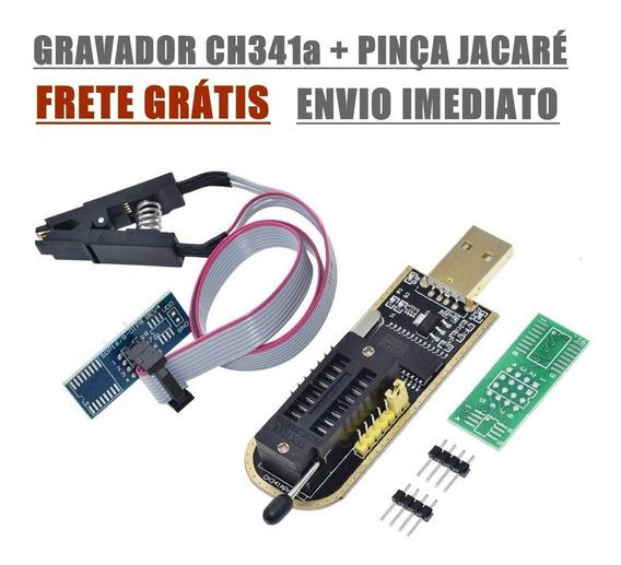 Programador Gravador Eprom Bios Flash Ch341a + Pinça Jacaré