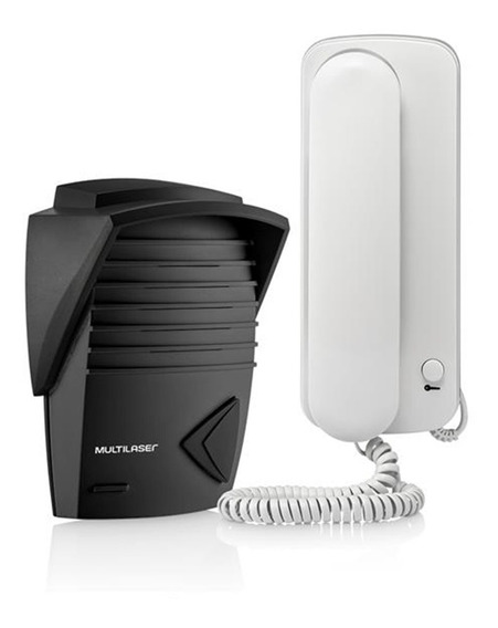 Kit Interfone Residencial + Porteiro Eletrônico Multilaser Se401 Barato - Até 100mt Permite 2 Canais - Som Alto Bivolt