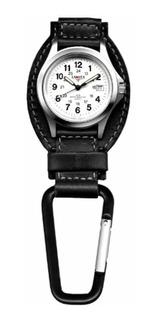 Dakota Negro Cuero Campo Clip Reloj