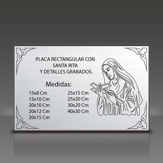Placa Grabada De Metal Para Agradecimiento, Santa Rita. 10x8