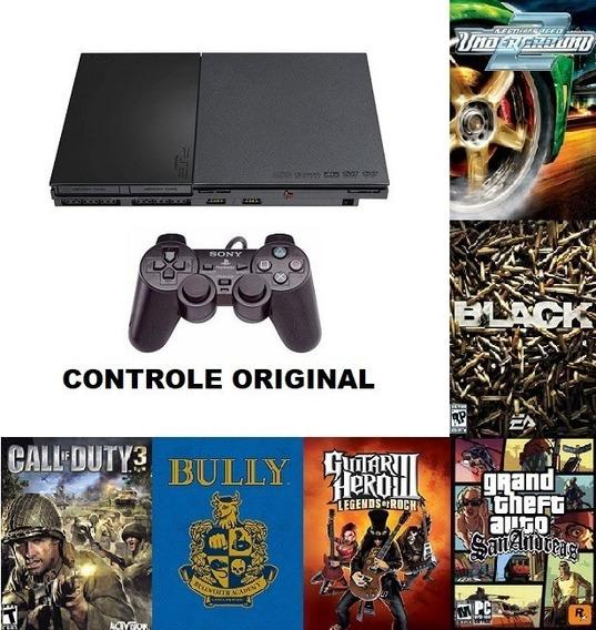 Playstation 2 Slim Olp + Hd De 160 Gb + 1 Controle Original