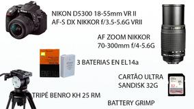 Nikon D5300- Tripé Benro- Lente 70x300- 3 Baterias- Cartão