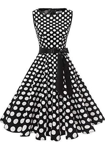 CNFIO Vestidos de Fiesta Mujer Cortos Vestido de C/óctel A/ños 50 Vintage Elegantes Cuello V Midi Dress