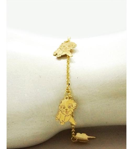 Pulseira Ouro 18k Infantil Cachorros 15cm Pic0220