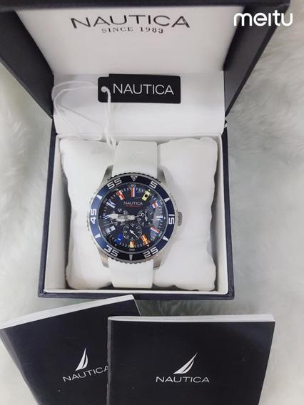 Relógio Gt52 Nautica N16696g Branco - Azul Promoção!