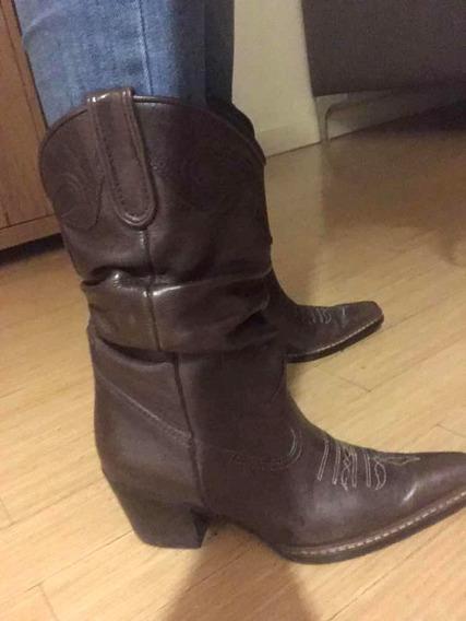 Botas Cowboy Texanas Cuero Marron 35