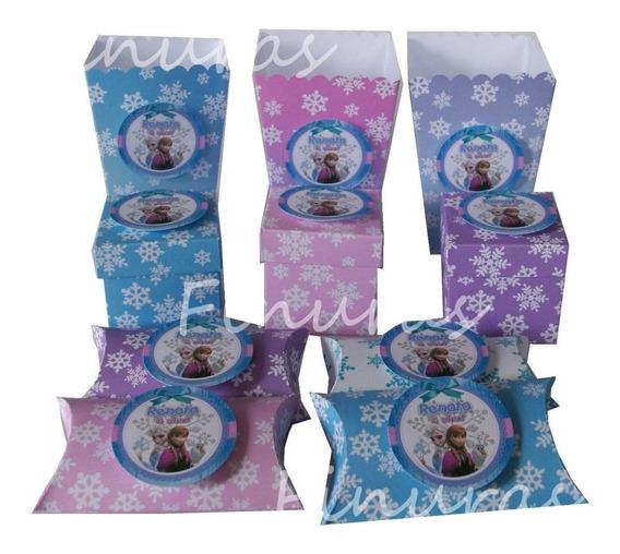 Cajas Dulcero Mesa De Dulces Frozen Rosa Lila 10pz Por $90