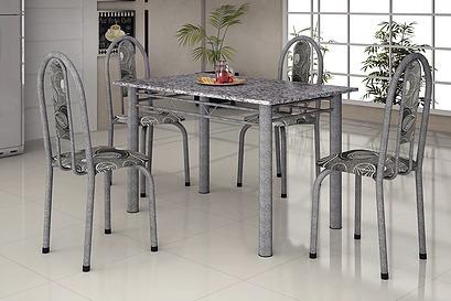 Mesa Para Cozinha Martelada 120x75 Com 4 Cadeiras Só Rj