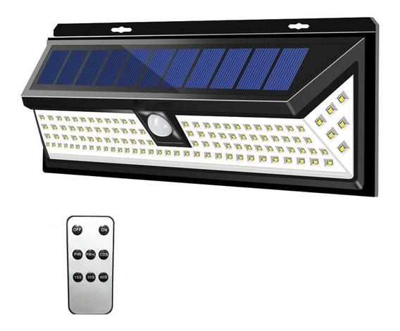 Kit 2 Luminária Energia Solar 118 Leds Acend. Automático Com Controle Remoto