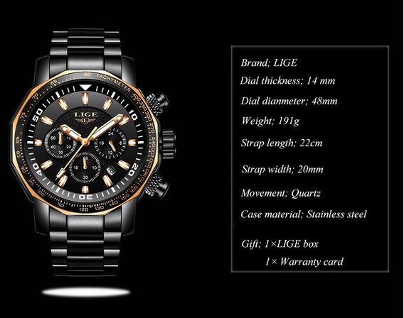 Relógio Pulso - Lige 48mm - Vidro Hardlex