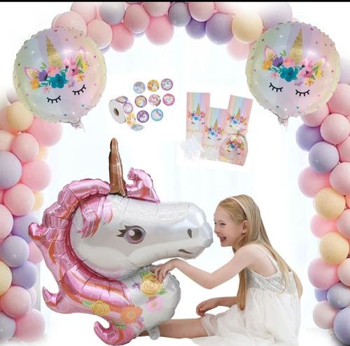 Imagen 1 de 5 de Kit Globo Unicornio Incluye Bolsitas Y Pegatinas 103 Piezas