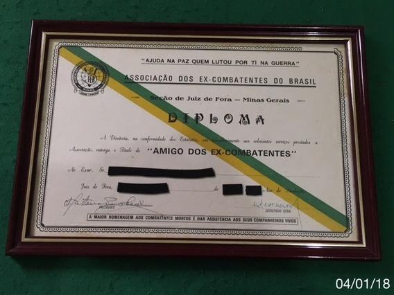 * Diploma - Amigos Dos Ex Combatentes - 38cm X 27cm *