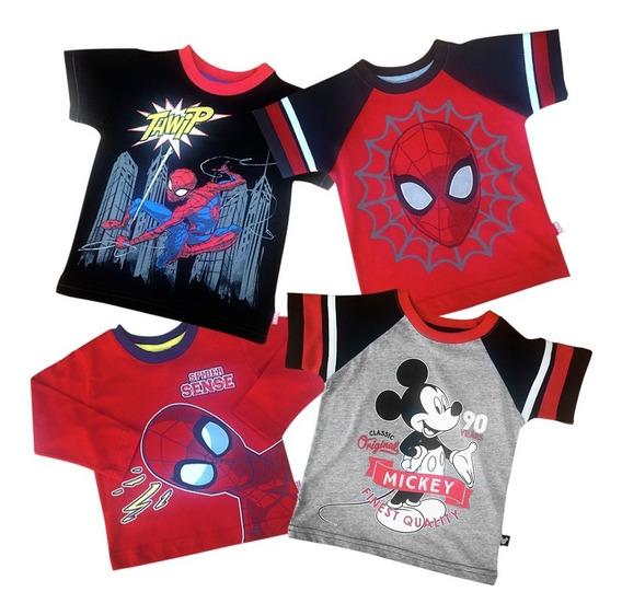 Playeras De Marvel Y Disney Para Bebo Oficial 4-pack Spider