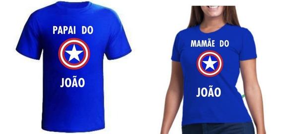 2 Camisas Capitão America De Aniversario Papai E Mamãe
