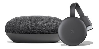 Smart Tv Kit Google Chromecast 3 + Home Mini Original